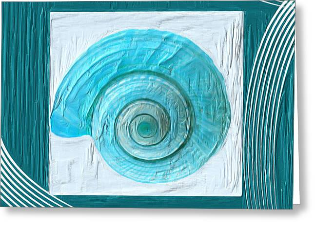 Sea Shell Art Paintings Greeting Cards - Turquoise Seashells XVII Greeting Card by Lourry Legarde