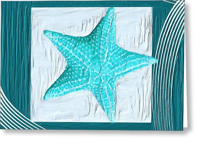 Sea Shell Art Paintings Greeting Cards - Turquoise Seashells XVIII Greeting Card by Lourry Legarde