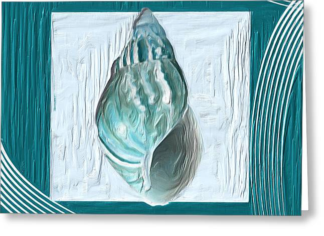 Shell Texture Greeting Cards - Turquoise Seashells XX Greeting Card by Lourry Legarde