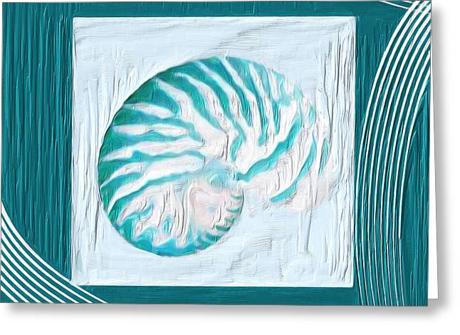 Shell Pattern Greeting Cards - Turquoise Seashells XXI Greeting Card by Lourry Legarde