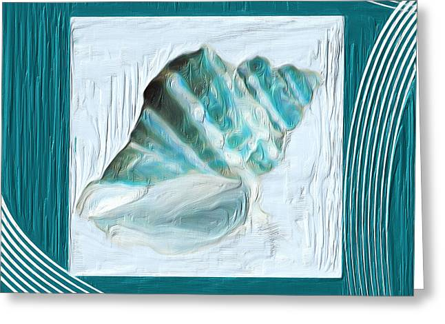 Sea Shell Art Paintings Greeting Cards - Turquoise Seashells XXII Greeting Card by Lourry Legarde