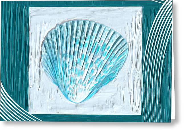 Sea Shell Art Paintings Greeting Cards - Turquoise Seashells XXIII Greeting Card by Lourry Legarde