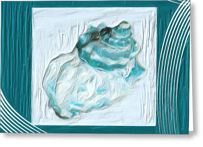 Shell Pattern Greeting Cards - Turquoise Seashells XXIV Greeting Card by Lourry Legarde
