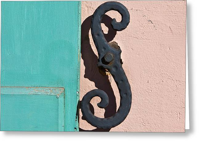 S-hooks Greeting Cards - Turquoise Shutter Greeting Card by Art Block Collections