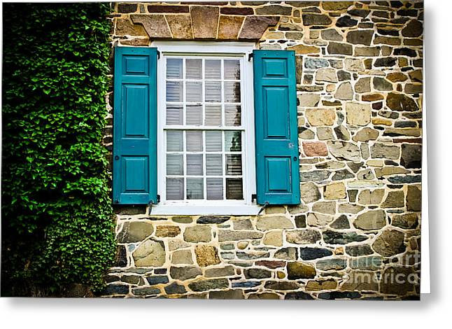 Stone House Greeting Cards - Turquoise Shutters  Greeting Card by Colleen Kammerer