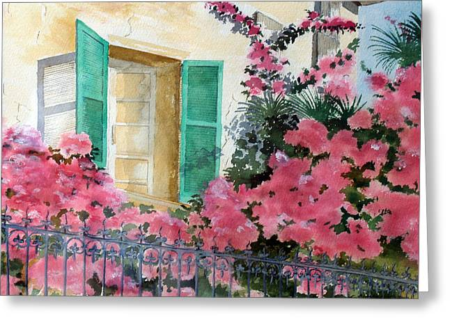 Grillwork Greeting Cards - Turquoise Shutters Greeting Card by Susan Crossman Buscho