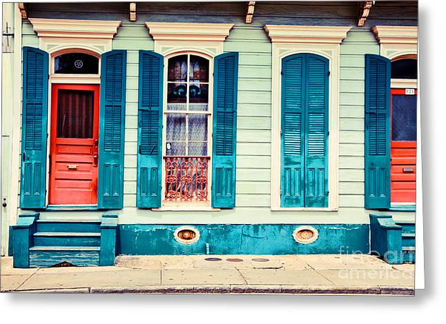 French Doors Greeting Cards - Turquoise Shutters Greeting Card by Sylvia Cook