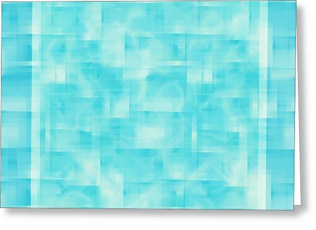 Random Shape Greeting Cards - turquoise square 12-November-2012 Greeting Card by Igor Kislev