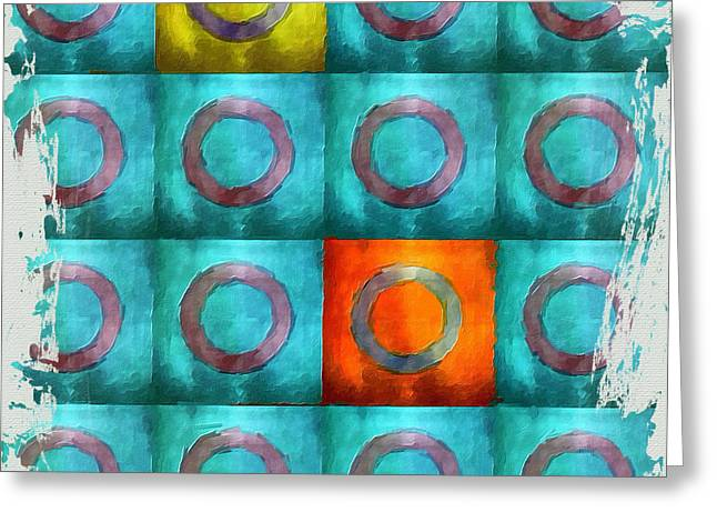 Tangerine Greeting Cards - Turquoise Squares Greeting Card by Bonnie Bruno
