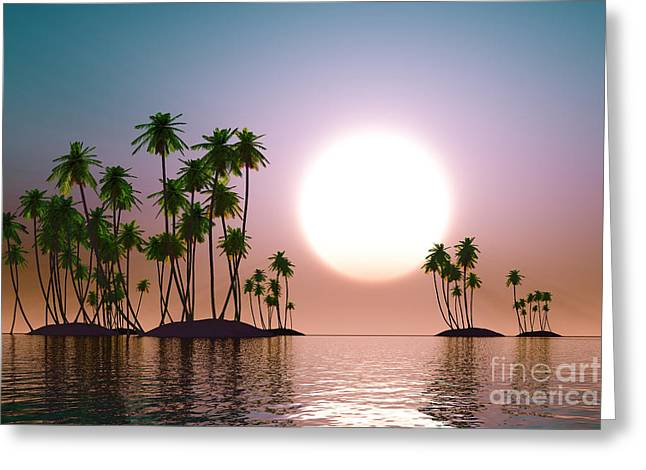 Cold Morning Sun Greeting Cards - Turquoise Sunset Greeting Card by Aleksey Tugolukov