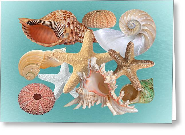 Seastar Greeting Cards - Turquoise Treasures Of The Deep Greeting Card by Gill Billington