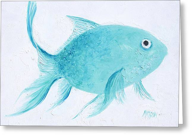 Cushion Greeting Cards - Turquoise Tropical Fish Greeting Card by Jan Matson