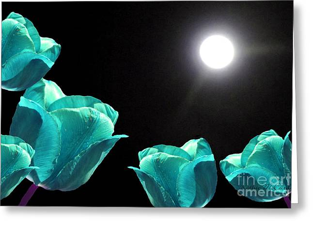 Ohio ist Digital Greeting Cards - Turquoise Tulips in the Moonlight Greeting Card by Kathie McCurdy