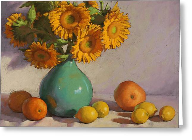 Floral Still Life Pastels Greeting Cards - Turquoise Vase with Sunflowers Greeting Card by Sarah Blumenschein