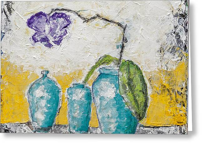 Impressionist Style Greeting Cards - Turquoise Vases And Purple Orchid Still Life Greeting Card by Ben Gertsberg