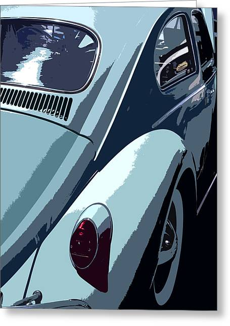 Vw Beetle Greeting Cards - Turquoise VW Beetle Back Greeting Card by Studio Janney