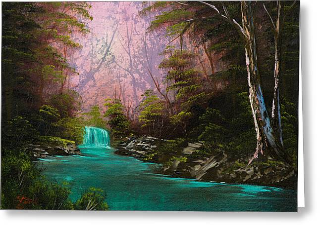 Bob Ross Paintings Greeting Cards - Turquoise Waterfall Greeting Card by C Steele