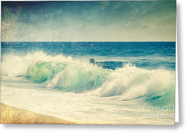 Aquamarin Greeting Cards - Turquoise Wave Greeting Card by Dirk Wuestenhagen