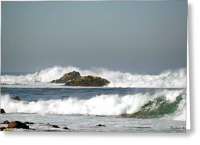 Monterey Ocean Scene Greeting Cards - Turquoise Waves Monterey Bay Coastline Greeting Card by Barbara Snyder