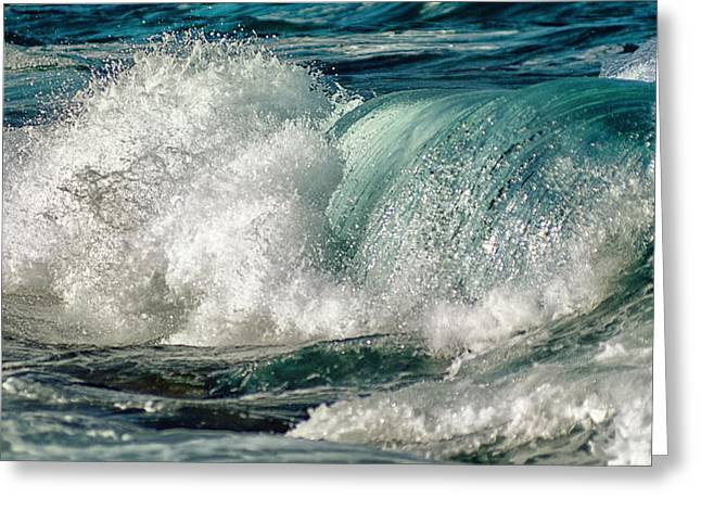 Infinity Greeting Cards - Turquoise Waves Greeting Card by Stylianos Kleanthous