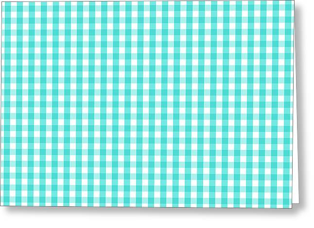 Blue And White Gingham Greeting Cards - Turquoise White Gingham Check Pattern Greeting Card by Tigerlynx Art