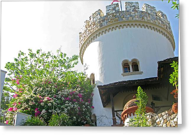 Fiori Sun Greeting Cards - Turret and Flowers Greeting Card by Pete Marchetto