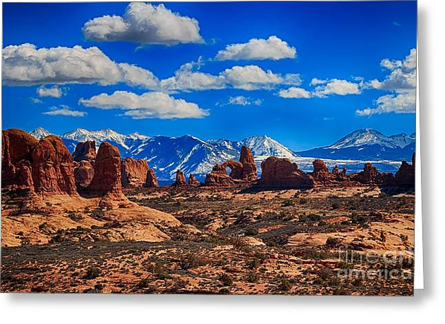 Arches National Park Pine Trees Greeting Cards - Turret Arch and the Manti la Sal Mountains Greeting Card by Scotts Scapes
