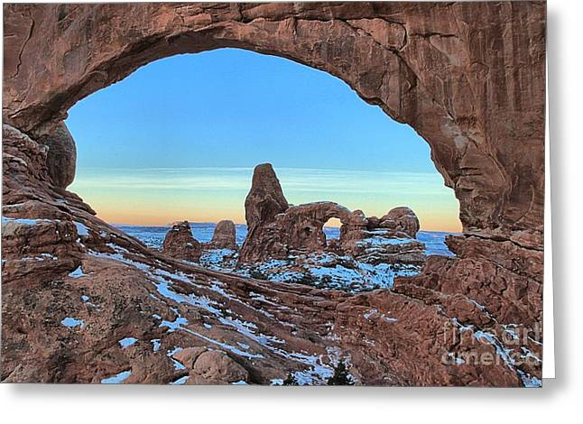 Southern Utah Greeting Cards - Turret Arch Before Sunrise Greeting Card by Adam Jewell