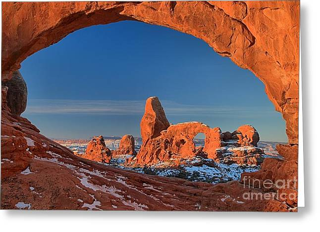 Southern Utah Greeting Cards - Turret Arch In The Window Greeting Card by Adam Jewell
