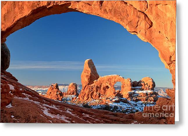 Southern Utah Greeting Cards - Turret In A Window Greeting Card by Adam Jewell