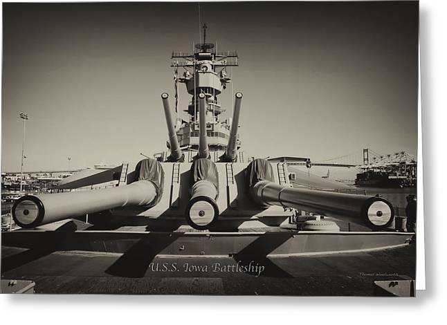 16 Inch Guns Greeting Cards - Turrets 1 and 2 USS Iowa Battleship Antique Greeting Card by Thomas Woolworth