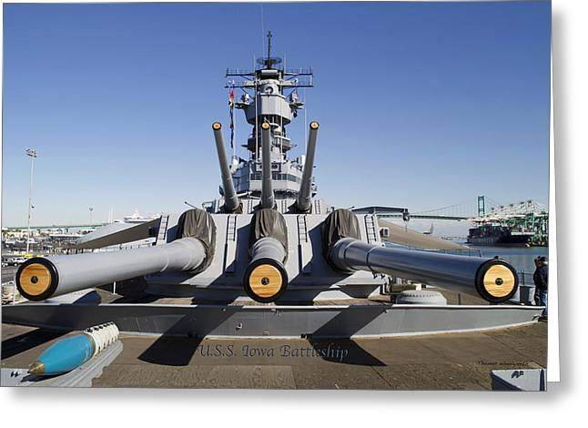 16 Inch Guns Greeting Cards - Turrets 1 and 2 USS Iowa Battleship Shell Greeting Card by Thomas Woolworth