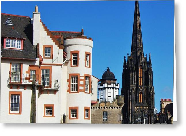 Spire Framed Prints Greeting Cards - Turrets And Spires Edinburgh Greeting Card by Courtney Dagan