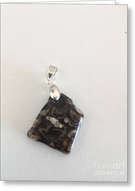 Agate Jewelry Greeting Cards - Turritella Agate Fossil Cabochon Greeting Card by Joseph Mora