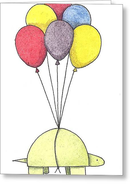 Tortoise Greeting Cards - Turtle Balloon Greeting Card by Christy Beckwith