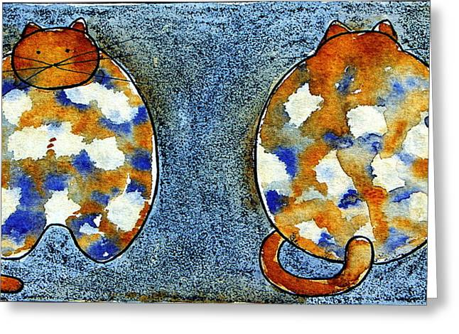 Office Space Mixed Media Greeting Cards - Turtle Cats Greeting Card by Ans De Bie