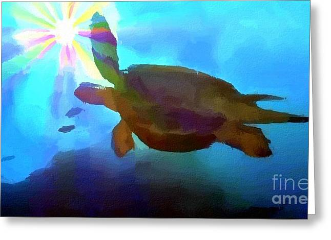 Colourful Greeting Cards - Turtle Greeting Card by Chris Butler