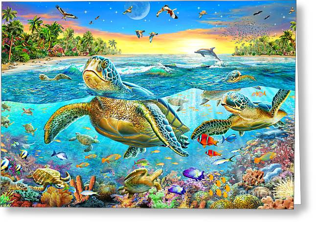 Reef Fish Digital Art Greeting Cards - Turtle Cove Greeting Card by Adrian Chesterman