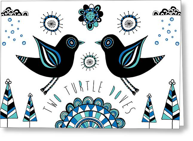 Raining Greeting Cards - Turtle Dove Greeting Card by Susan Claire