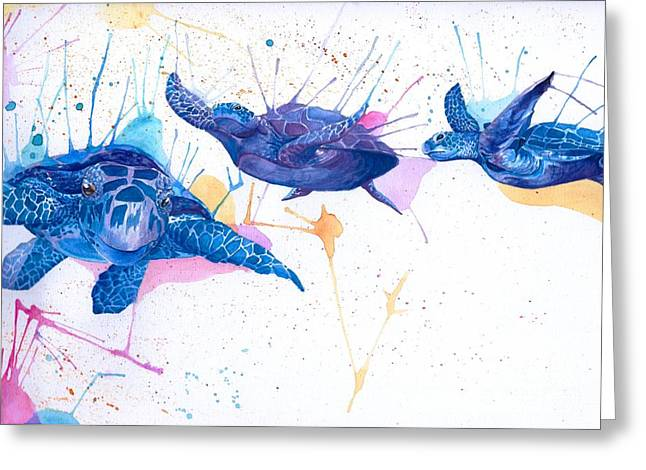 Colorful Creatures Drawings Greeting Cards - Turtle Flight Greeting Card by Hannah Circenis