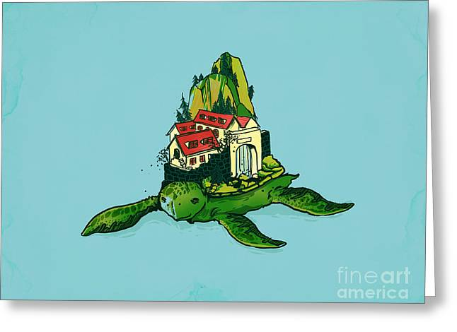 Green Turtle Greeting Cards - Turtle fort Greeting Card by Budi Kwan
