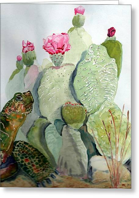 Turtle Gazing Upon Dessert Greeting Card by Joann Perry