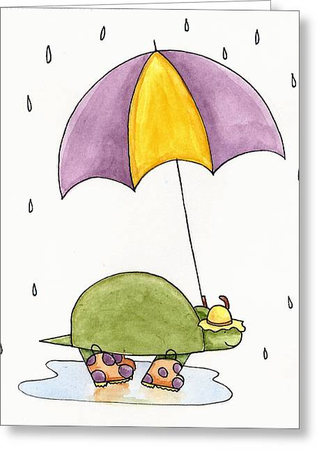Umbrella Drawings Greeting Cards - Turtle in the Rain Greeting Card by Christy Beckwith