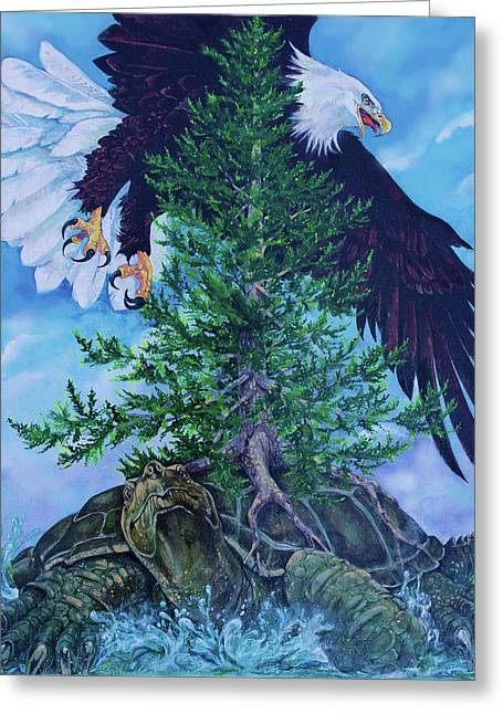 American Indian Legends Greeting Cards - Turtle Island Greeting Card by Derrick Higgins