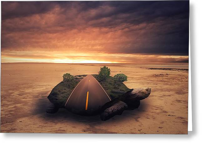 Creative Manipulation Greeting Cards - Turtle Island Greeting Card by Mindy Mcgregor