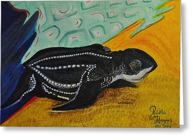 Reptiles Pyrography Greeting Cards - Turtle Greeting Card by Julietta  Haynes