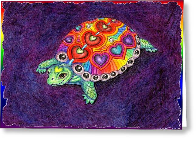 Spectrum Drawings Greeting Cards - Turtle Love Greeting Card by Melinda DeMent