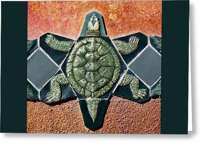 Turtle Mosaic Greeting Card by Carol Leigh