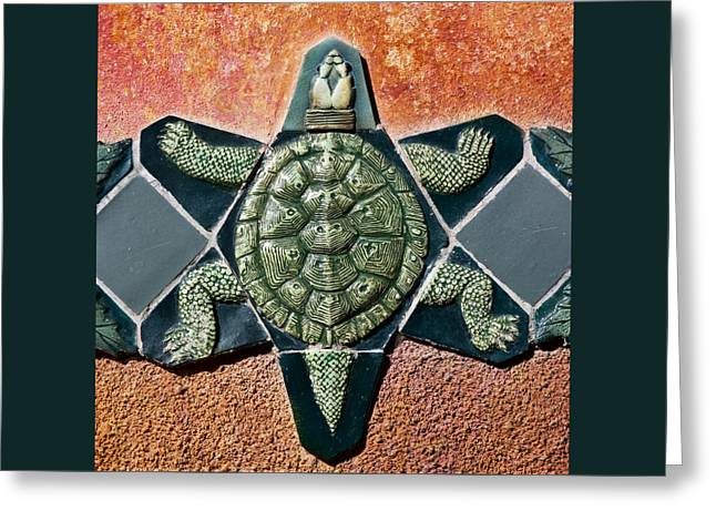 Tortoise Greeting Cards - Turtle Mosaic Greeting Card by Carol Leigh