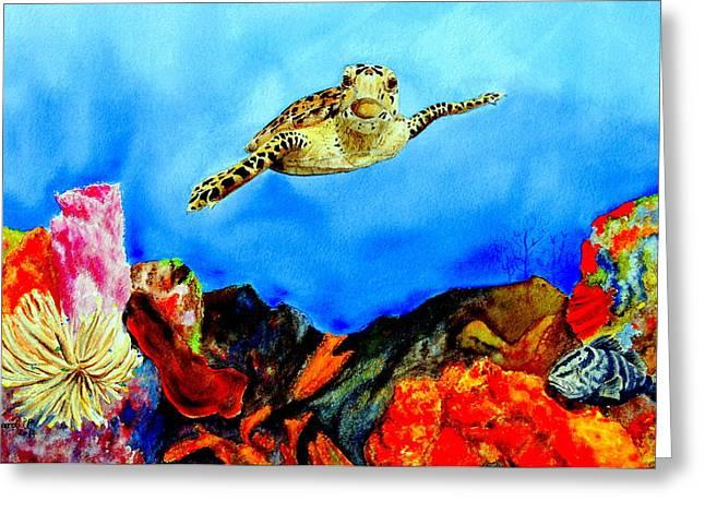 Nassau Grouper Greeting Cards - Turtle Reef Greeting Card by Martine Harvengt